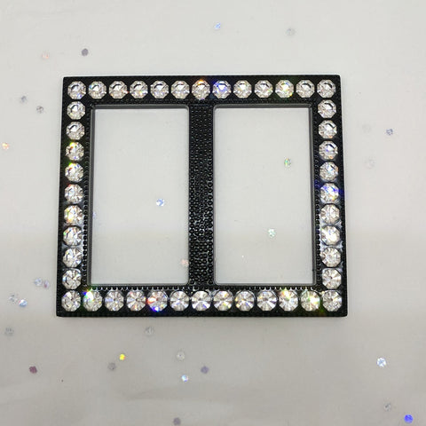 Rectangle Black & Diamante Buckle (48mm x 55mm)
