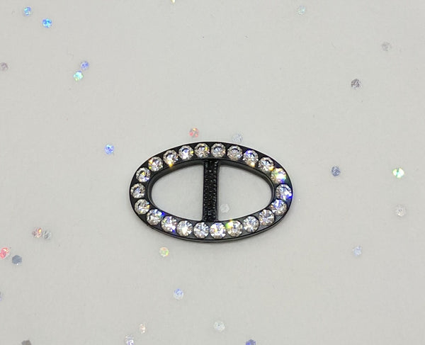 Oval Black & Diamante Buckle (25mm x 15mm)