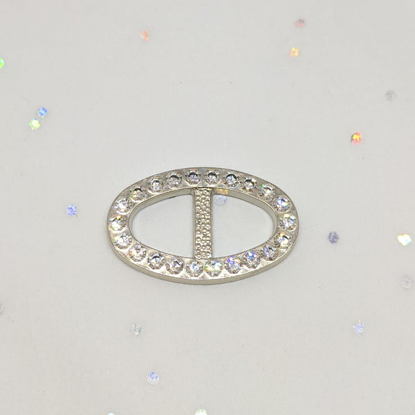 Oval Silver & Diamante Buckle (25mm x 15mm)