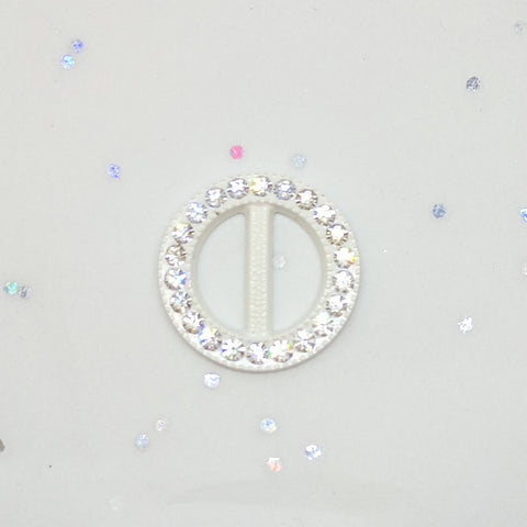 Round White & Diamante Buckle (2.1cm)