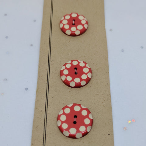 Red White Polka Dot / Vintage Casein / 2 Hole