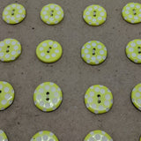 Yellow (Lime Green) White Polka Dot / Vintage Casein / 2 Hole