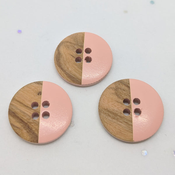 Wooden Buttons half Pink / 4 Hole
