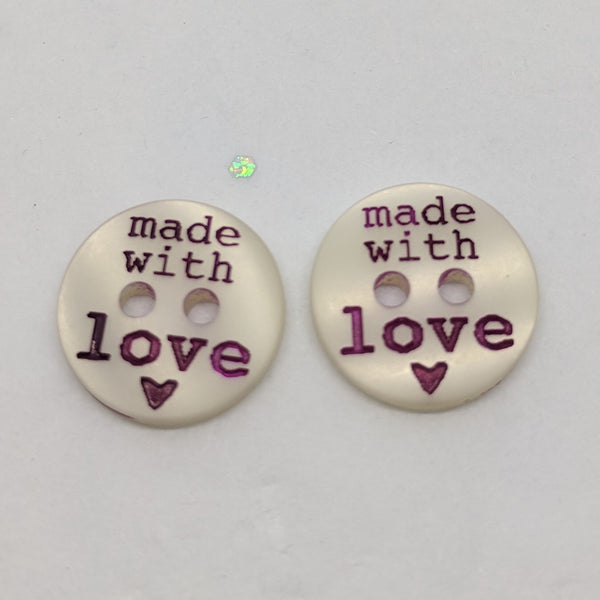White 'Made With Love' / Polyester / 2 Hole