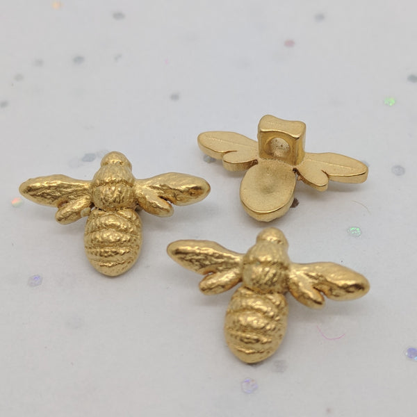 "Gold (""Antique gold"") Bees / ABS Metal Coated / Shank"