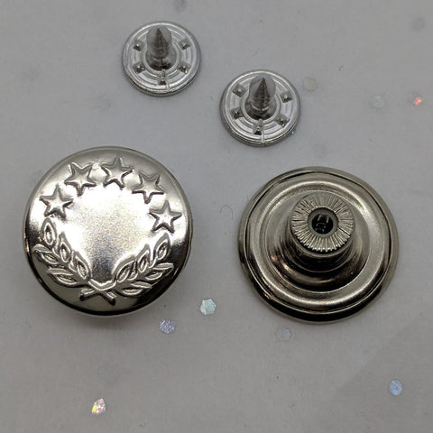 Silver with Wreath and Star / Jean Buttons and Rivets / Tack Buttons