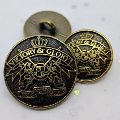 Blazer Buttons with Shield & Flags / Antique Brass / Shank