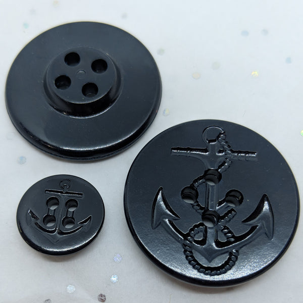 Navy Pea Coat Buttons / 4 Hole