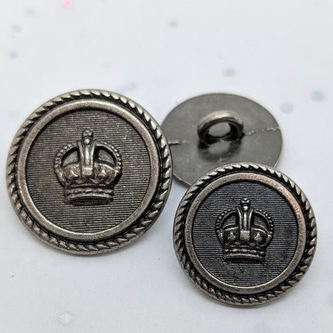 Blazer Buttons with Crown / Rope Rim / Antique Silver /  Shank