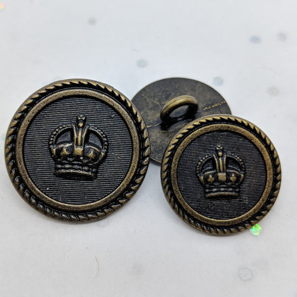 Blazer Buttons with Crown / Rope Rim / Antique Brass /  Shank