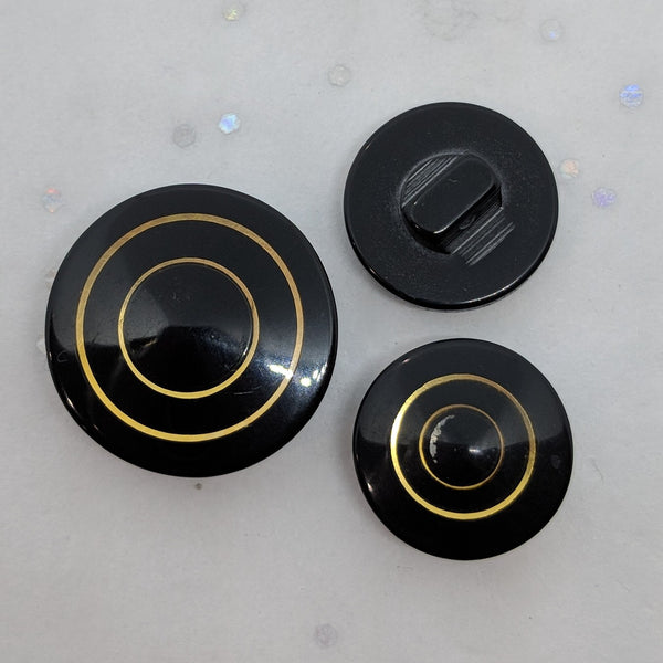 Black with Gold Circles / Polyester / Shank