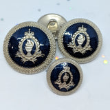 Blazer with Classic Crest / Antique Silver & Navy Epoxy / Shank