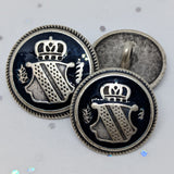 Blazer Buttons with Shield / Antique Silver / Navy Epoxy