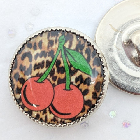 Cherries / Leopard Print Background / Acrylic Dome