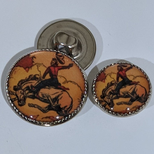 Cowboy / Bronco Horse / Brown Background / Acrylic Dome