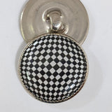 Black & White Checkered / Acrylic Dome