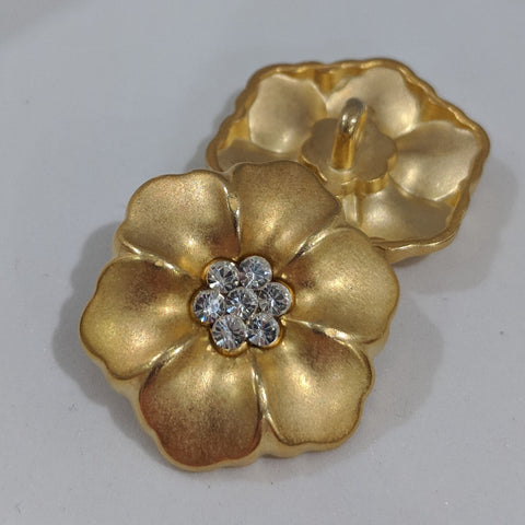 Flower / Diamante Centre / Matte Gold