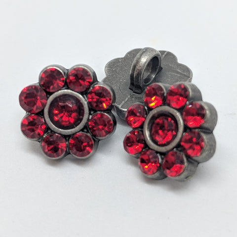 Red / Diamante Flower / Shiny