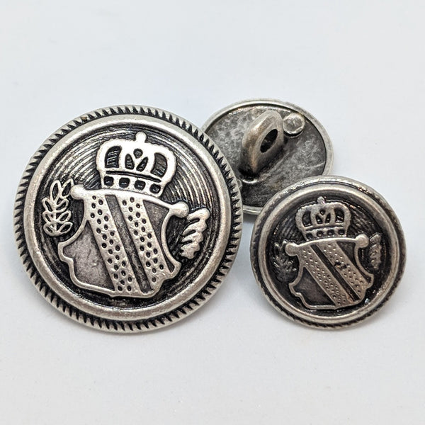 Blazer Buttons with Shield / Antique Silver