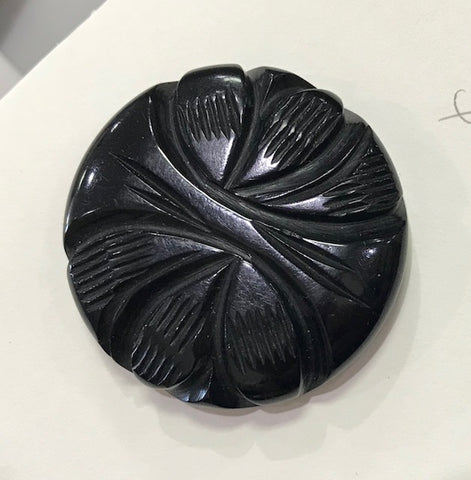 Black Carved Bakelite Coat Button
