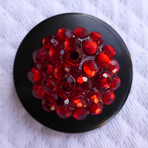 Button Red  / Domed & Faceted / Shiny