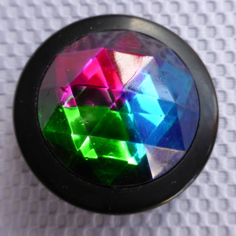 Button Red  (Green, Blue) / Domed & Faceted / Shiny