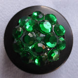 Button Green  / Domed & Faceted / Shiny