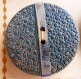 Blue / Stamped / Matte Wooden Button