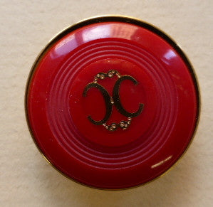 Button Red (Gold) / Two C Design / Shiny