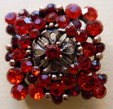 Button Red / Diamante Square Cluster / Shiny