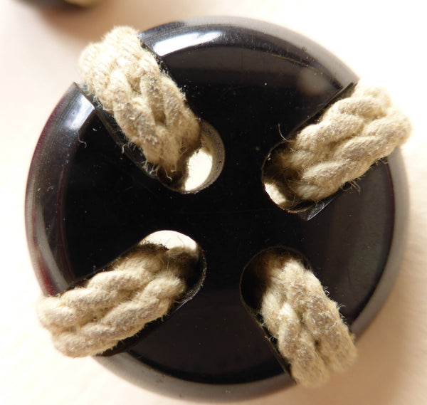 Black Bakelite Button / Lifesaver with Rope / Shiny