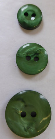Dark Green / Domed Shaped Ring Edge / Shiny Buttons in 3 sizes