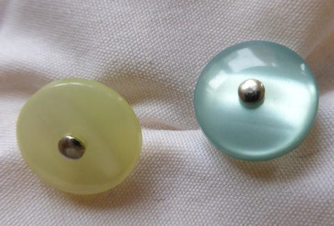Lime Green Silver Shank Shiny Button