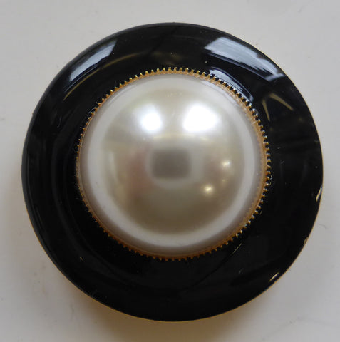 Navy Enamel Ring Edge / Pearl Centre Dome / Shiny