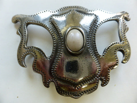 Steam Punk Nickel Buckle with White Oval Centrepiece