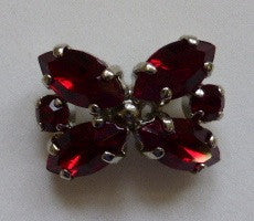 "Button Red / ""Butterfly"" / Diamante / Shiny"