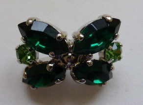 "Button Green / ""Bowtie"" / Diamante / Shiny"