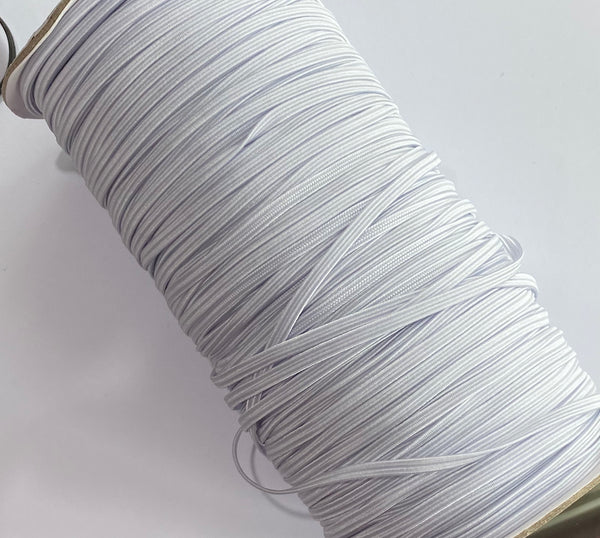 3mm Braided Elastic - White