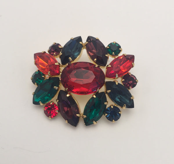 Multi Colour / Diamante Oval Cluster / Shiny