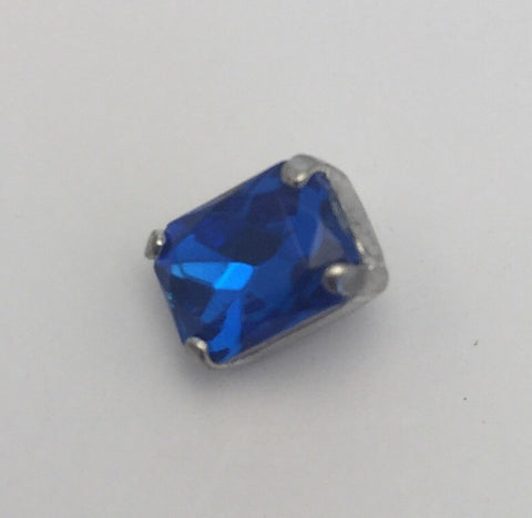 Royal Blue (silver shank) /  Rectangle  / Crystal