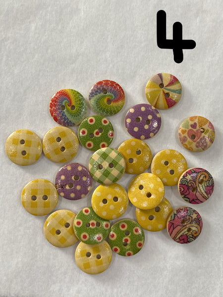 Wooden Buttons / 2 Hole / Printed designs / Lot