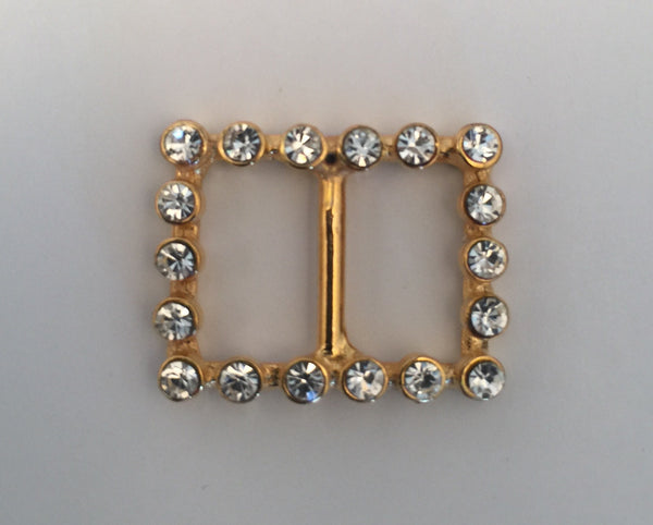 Rectangle Gold & Diamante Buckle (2.5cmx2cm)
