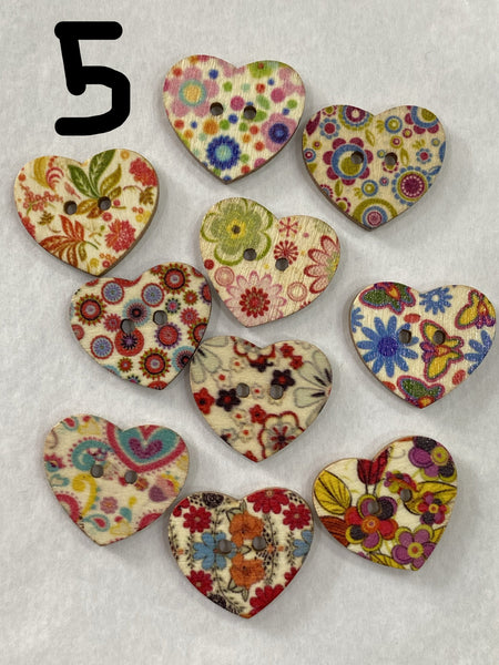 Wooden Buttons / 2 Hole / Heart / Printed designs / Lot