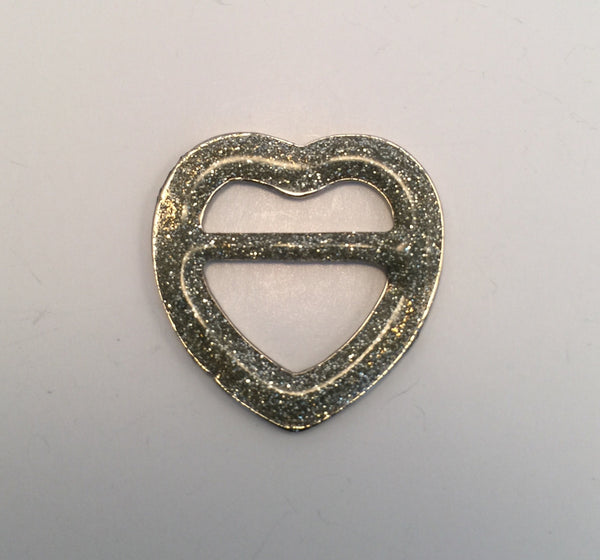 Love Heart Silver & Glitter Buckle - French (2.3cmx2.5cm)