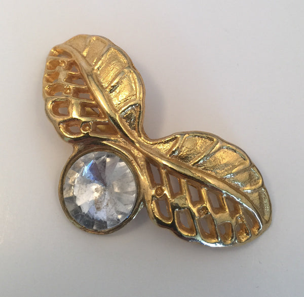 Gold Leaves & Diamante Buckle (3.0cmx5.5cm)