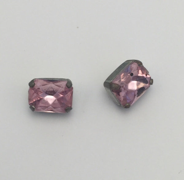 Pink (gold shank) /  Rectangle  / Crystal
