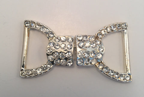 Bow Silver & Diamante Buckle (4.5cmx2.5cm)