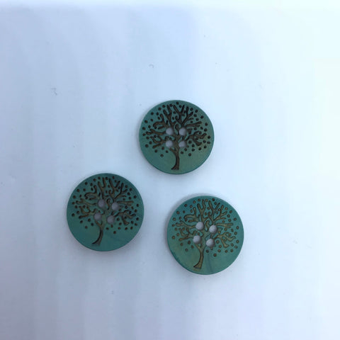 Green-blue Wooden Buttons with Tree / 4 Hole