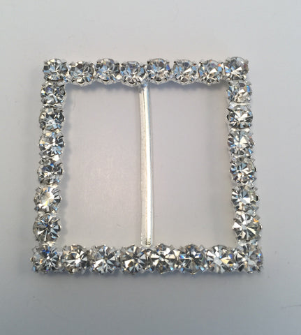 Square Silver & Diamante Buckle (4.5cmx4.5cm)