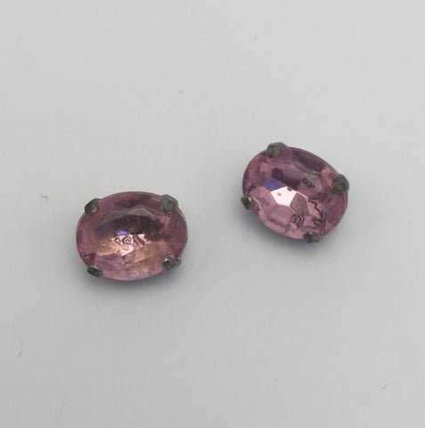 Pink (silver shank) /  Oval  / Crystal